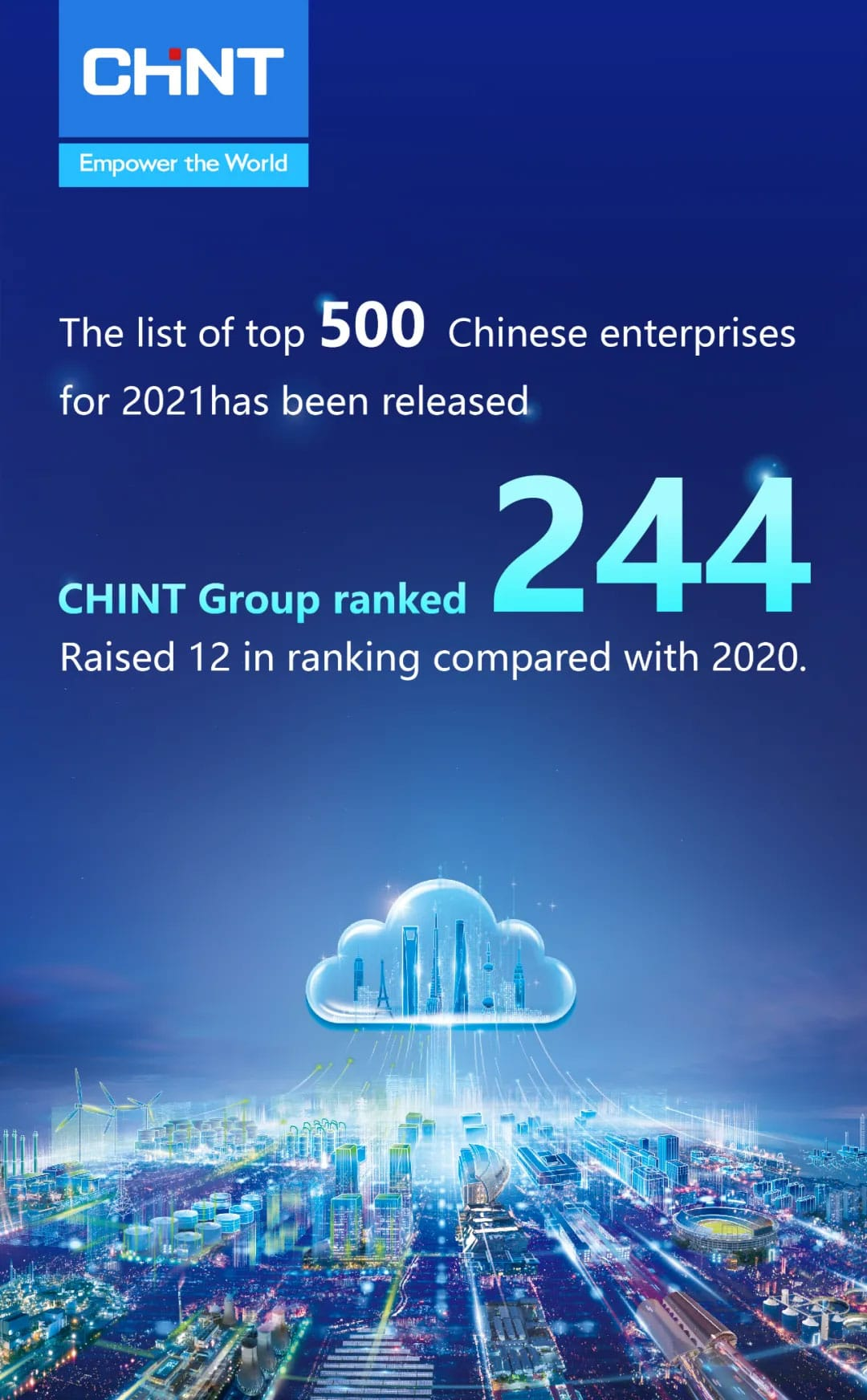 CHINT Got Higher Ranking in the 2021 Top 500 Chinese Enterprises